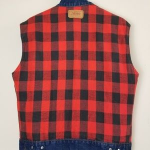 LEVI DENIM PLAID VEST SIZE Medium